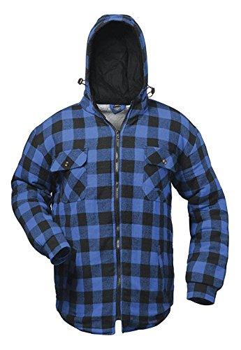 Thermohemd Arbeitshemd Arbeitsjacke blau/schwarz kariert und gefüttert mit Kapuze ? Craftland ? S-3XL