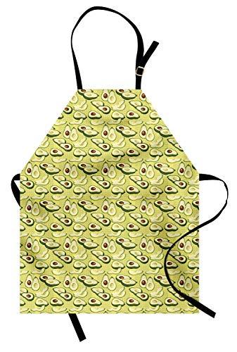 ABAKUHAUS Avocado Kochschürze, Karikatur-reife Avocados in den Scheiben mit Samen kopieren Rohe Tropische Frucht, Farbfest Höhenverstellbar Waschbar Klarer Digitaldruck, Grün