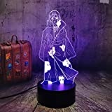 NARUTO Anime - Lámpara de noche Uchiha Itachi modelo 3D LED Illusion mesa lámpara de escritorio 7 colores cambiantes de color, lámpara de Navidad
