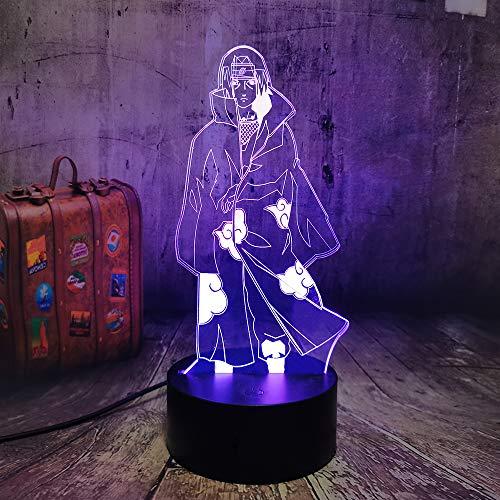 NARUTO Anime Uchiha Itachi - Lámpara de noche LED 3D, ilusión de mesa, 7 cambios de color, decoración del hogar, fans de Naruto, lámpara de Navidad