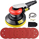 Autolock air Orbital Sander for Compressor Pneumatic,7 Pieces of 150mm Sandpaper + Equipped with dust Collector + A Frame, for polishing, Sanding Cars, Metals and Wood