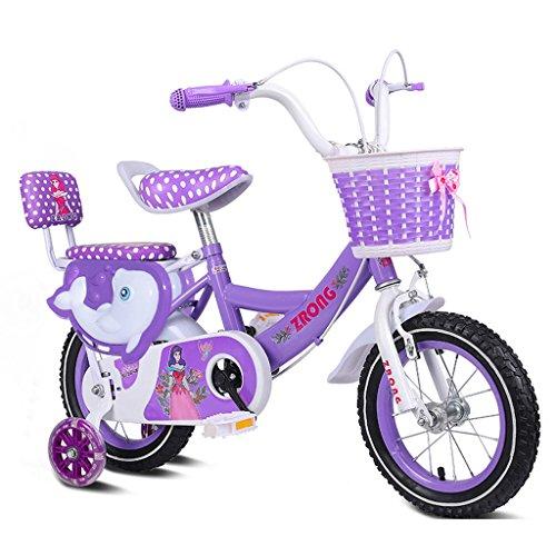QARYYQ Kinderfiets 3-5 Jaar Oud Meisje Fiets 14 Inch Baby Kinderwagen Koolstofstaal Frame Fiets, Roze/paars/blauw Kinderfiets (Kleur : Paars)