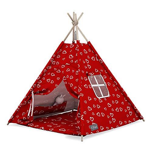 Elfique - Tienda de campaña para niños (tienda de campaña para jugar, con techo rojo con corazones)