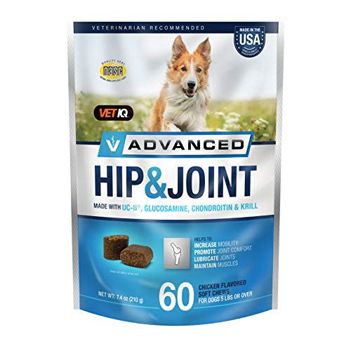 Price comparison product image VetIQ Advanced Hip & Joint with UC-II and Omega-3s Advance Formula for All Dog Breeds,  Chicken Flavor,  60 Count