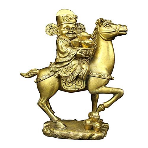 Decoración de la estatua del dios de la riqueza de Feng Shui, decoración de la estatua pequeña del caballo de montar del dios de la riqueza de cobre popular de China, para el hogar, la sala de estar