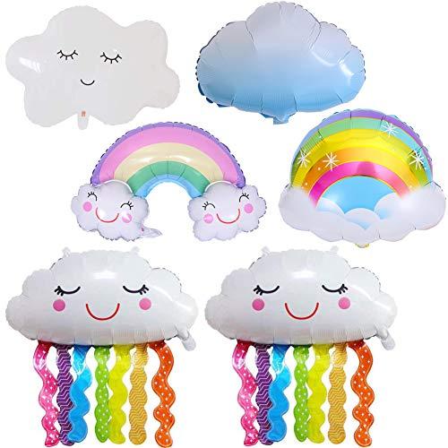 Globos de Papel de Aluminio de Mylar, NALCY 6 Piezas con Forma de Nube de Arco Iris, Globos de Borla de Cara Sonriente para Suministros de Decoraciones de Fiesta Cumpleaños Baby Shower