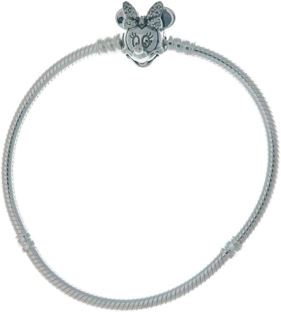 Pandora bracciale da donna con maglia snake e chiusura con minnie e pavé in argento sterling 925 597770CZ-19