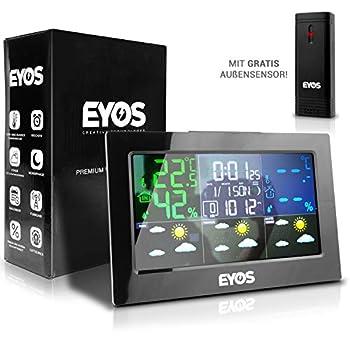 ✔ Facile à reconnaître : prévisions météo avec changement de couleur pour une meilleure visibilité. ✔ Multifonction : le EYOS dispose de nombreuses fonctions. ✔ Design parfait : avec son aspect moderne, la station météo EYOS s'intègre parfaitement da...