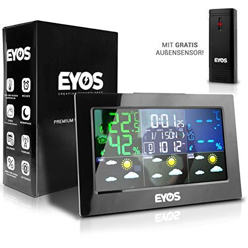 KRONENKRAFT Funk Wetterstation Außensensor - Digitaler Thermometer und Hygrometer - für Innen/-Außentemperatur/Uhrzeit/Luftfeuchtigkeit/Mondphase