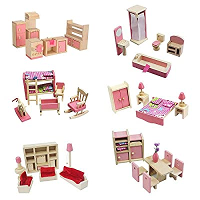 Kisoy Wooden Dollhouse Furniture Set for Kid and Children (6 PCS Including Kitchen Bathroom Bedroom High and Low Bed Living Room Dining Room)