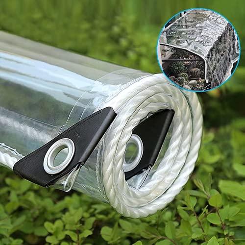 XIAOL Lona Impermeable Transparente con Ojales, Resistencia Desgarro En PVC for Invernadero Jardín Toldo de Planta Mallas Anti-heladas, 400 G/M²