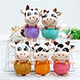 5 PCS Cute Cow Plush Toy Keychains Cow Doll Plush Key Chain Toy Soft Stuffed Animal Doll Ox Pendant Cute Plush Keychain Decoration for 2021 Chinese Ox New Year Home Car Hanging Decor Zodiac Gift
