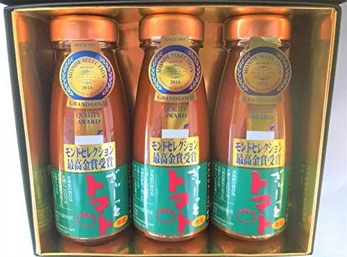 北海道 トマトジュース 無塩 「ぎゅーっとトマト」180ml 無塩 × 3本入り トマトジュース 北海道産 化粧箱入り
