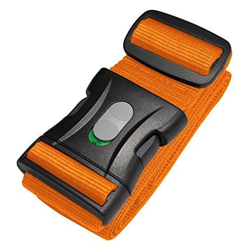1 STK. Kofferband, Koffergurt, Gepäckgurt extra lang (250 x 5 cm) mit Sicherheitsverriegelung der Schnalle von BE-HOLD schützt Ihren wertvollen Gepäckinhalt vor Verlust (Farbe orange)