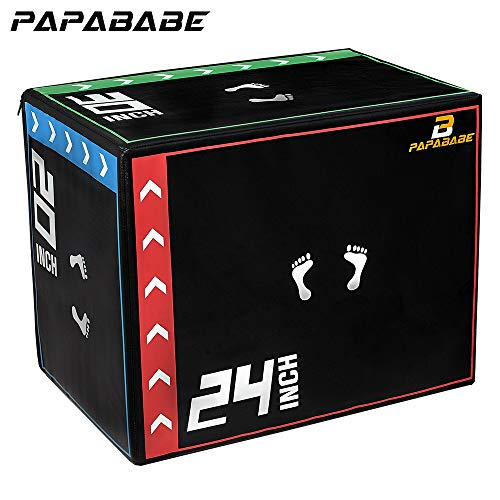 "papababe 3 in 1 20'' x 24'' x 30"" Foam Plyometric Box Jumping Exercise"