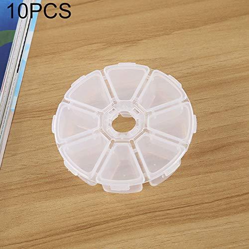 QICHENGBIN Mini Coffret à Bijoux Round 8 Machines à sous boîte en Plastique Organisateur de Stockage de conteneurs, for Bijoux en Cristal Pendentif Accessoires 10 PCS (Color : White)