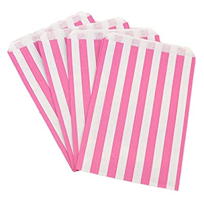 The Paper Bag Company Candy Stripe Paper Bags, 5 x 7 Inches - Pink, Pack of 100 by The Paper Bag Company