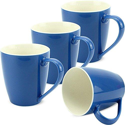 matches21 Tassen Becher Kaffeetassen Uni einfarbig blau dunkelblau Porzellan 4er 10 cm / 350 ml - ohne Tassenhalter