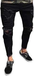 WanYangg Jeans del Foro Uomini, Uomo Strappati Elasticizzati Jeans Pantaloni Skinny Moda Casual Ginocchio Distrutto Patcha...