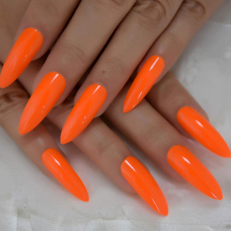 絶望的な論理策定するXUTXZKA 偽の爪長く明るいオレンジ色の装飾マニキュアのヒント