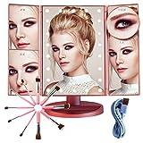 SHAP WOW Espejo Maquillaje con Luz y Brochas de Maquillaje,Espejo de Mesa Rotación 180º Sensor...