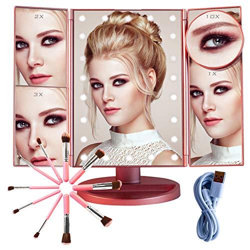 SHAP WOW Espejo Maquillaje con Luz y Brochas de Maquillaje,Espejo de Mesa Rotacion 180º Sensor Tactil Carga Usb Espejo Aumento 1x2x3x10x