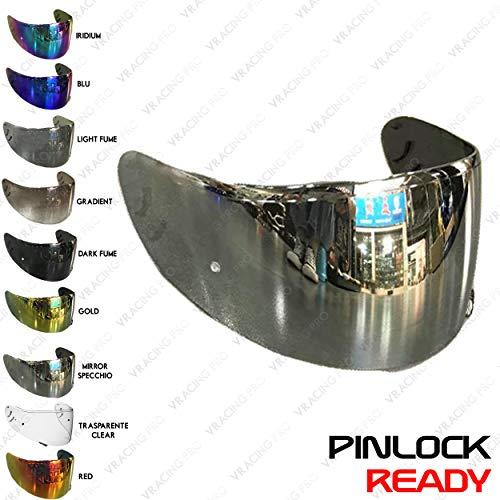 VRacing Shoei Xr1100 Visier Cw-1 Helmvisier Xr 1100 Qwest X-Spirit 2 Helm Pinlock Ready Aftermarket (Silber Chrome)
