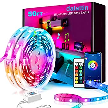 50ft Led Lights Smart dalattin Led Lights for Bedroom with App Control Music Sync Smart Led Strip Lights Color Changing Lights,2 Rolls of 25ft