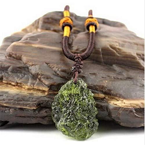 XIAOHNNL Grüne Aerolites Kristall Stein Anhänger Energie Apotropaic A++ Natürliche Moldavite 4g-6g / Lot + Free Rope Einzigartige Halskette