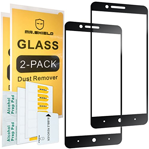 [2-PACK]-Mr.Shield For ZTE Blade Z Max [Tempered Glass] [Full Cover] [Black] Screen Protector with Lifetime Replacement