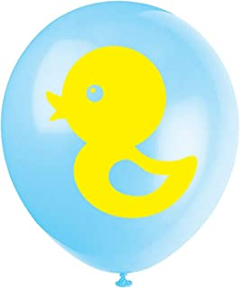 Blue Yellow Duck Baby Shower Or Birthday Party Latex Balloons, 16-Pack 12inch Boy or Girl Rubber Duck Themed Party Decorations