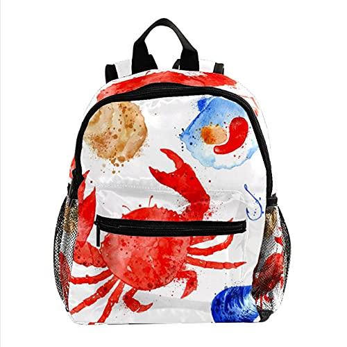 女性用ミニバックパックラップトップバッグトラベルバッグ赤いカニのコングシェル 仕事、学校、屋外