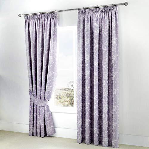 Serene Jasmine Due Tende a Pannello, 55%, 45%, Fodera Cotone, 50% Poliestere, Lavender, Curtains: 66' Width x 90' Drop (168 x 229cm)