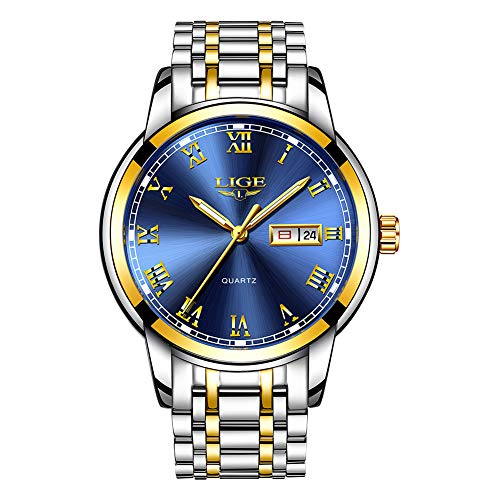 LIGE Herren-Armbanduhr, wasserdicht, analog, Quarz, Edelstahl, lässig, modisch, Sport, Gold, Blau, Business-Kalender, Armbanduhr für Herren …