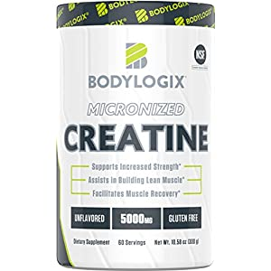 Bodylogix Micronized Creatine Monohydrate Powder, NSF Certified, Unflavored, 300g