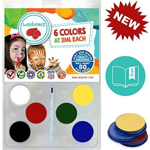 Face Painting Kit for Any Event by Weebumz (Paint 60 Full Faces) Includes 6 Safe, Vibrant, Most Popular Colors & 1 Brush - Great Holiday Gift Makeup Set, Non-Toxic Palette + Bonus Ebook