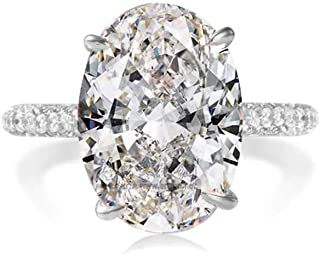 LESFD Oval Cut 5ct Solitaire Cubic Zirconia Engagement Ring (7)