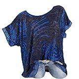 TOPKEAL Camiseta de manga corta con cuello redondo, talla grande, con lentejuelas, para mujer, verano, elegante, túnica, primavera, estilo casual 2019 azul oscuro XXXXL