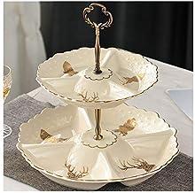 Desserttafel Snoepbord Fruitschaal Dubbel Compartiment Woonkamer Koffietafel Fruitschaal Decoratie Keramiek (Kleur: A)