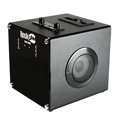RockJam RJSC01-BK Singcube Rechargeable Bluetooth Karaoke Machine with Two Microphones