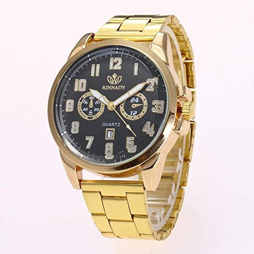 Powzz ornament Smartwatches Relojes De Moda Relojes Más Vendidos De Moda Relojes De Caballero Clásico Calendario Digital De Aleación De Acero Reloj De Cuarzo @ Negro