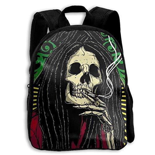 Daypacks,Kritzeleien Halloween Legende Schädel Studententasche, Geeignete College-Taschen Für Kinder Reiseklettern,27cm(W) x34cm(H)