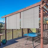 Windscreen4less Exterior Roller Shade Blinds Outdoor Privacy Roll Up Shade for Deck Porch Carport Pergola Balcony Patio 8' W x 6' L Light Grey