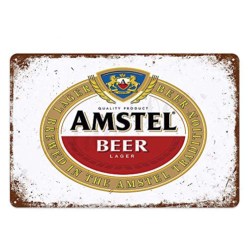 Blechschild Amstel Holländisches Bier Metallschild, Retro-Dekoration für Bar, Café, Pub, Blechschild, 20,3 x 30,5 cm, Männerhöhle, Spielzimmer, Garage, Bars