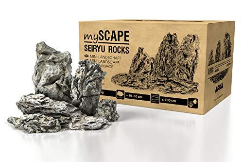 ARKA Aquatics myScape-Rocks Seiryu - Mini-Landschaft - natürliches Gestein für einzigartige Aquascapes in jedem Süßwasseraquarium & Terrarium, ideal für Aquarienbreiten bis ca. 100 cm, 10 kg, Grau