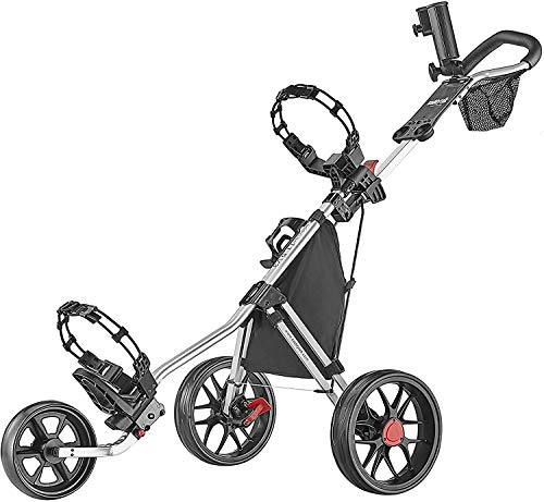 Caddytek CaddyLite 11.5 V3 3 Wheel Golf Push Cart - SuperLite Deluxe, Lightweight, Easy To Fold Caddy Cart Pushcart , Silver , 53.5 x 27 x 45""
