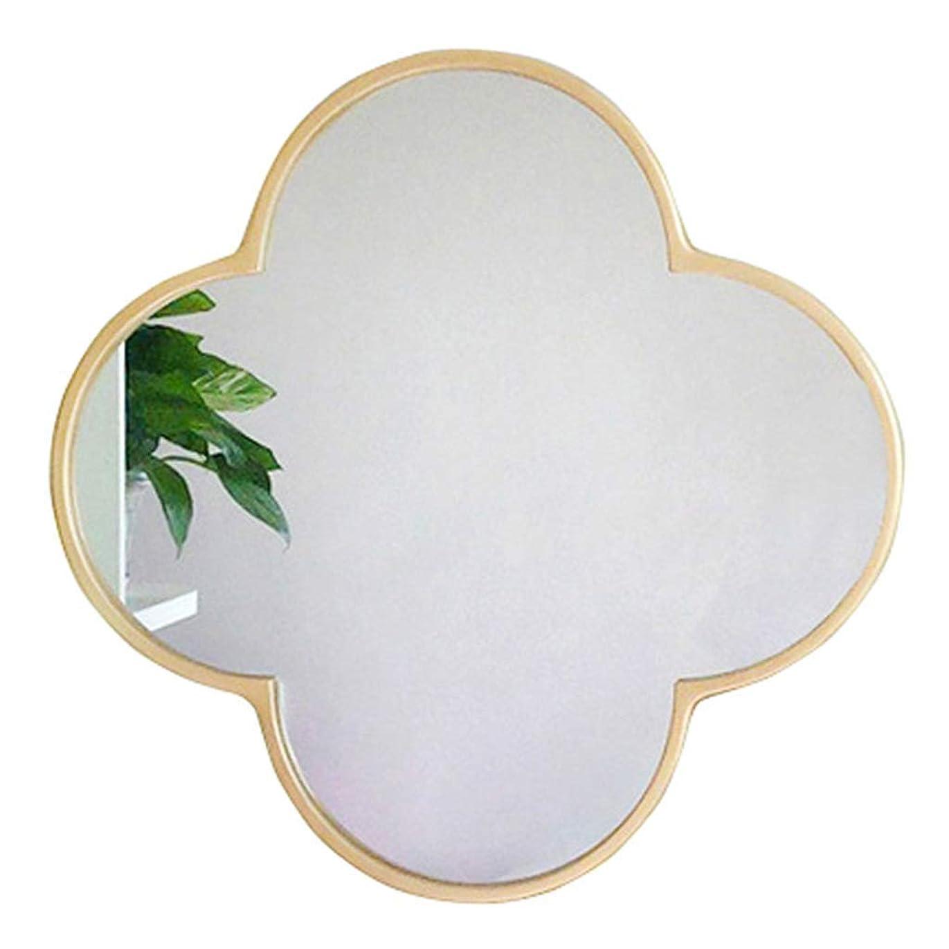 試み先疼痛現代的な壁に取り付けられたミラーメタルフレームの丸い化粧化粧鏡の壁掛けの女の子の寝室の装飾-花のパターン
