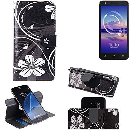 K-S-Trade® Schutzhülle Für Alcatel U5 HD Single SIM Hülle 360° Wallet Case Schutz Hülle ''Flowers'' Smartphone Flip Cover Flipstyle Tasche Handyhülle Schwarz-weiß 1x