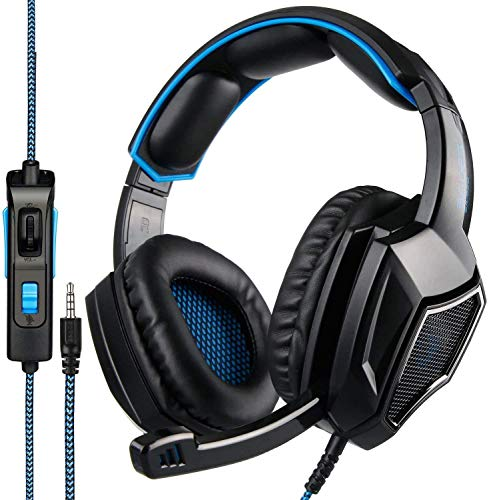 PS4 Headset, SA920 Stereo Gaming Headphones,3.5mm Wired Over Ear Noise Cancelling Gaming Headset with Mic & Volume Control & Bass Surround Compatible with PC/Mac/Laptop/Xbox One