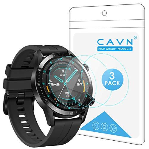 CAVN [3-Stück Kompatibel mit Huawei Watch GT 2 46mm Schutzfolie Panzerglas, (Nicht für GT 2 Pro) Wasserdichtes gehärtetes Glas Anti-Scratch Anti-Bubble Bildschirmschutzfolie Schutz für GT2 46mm